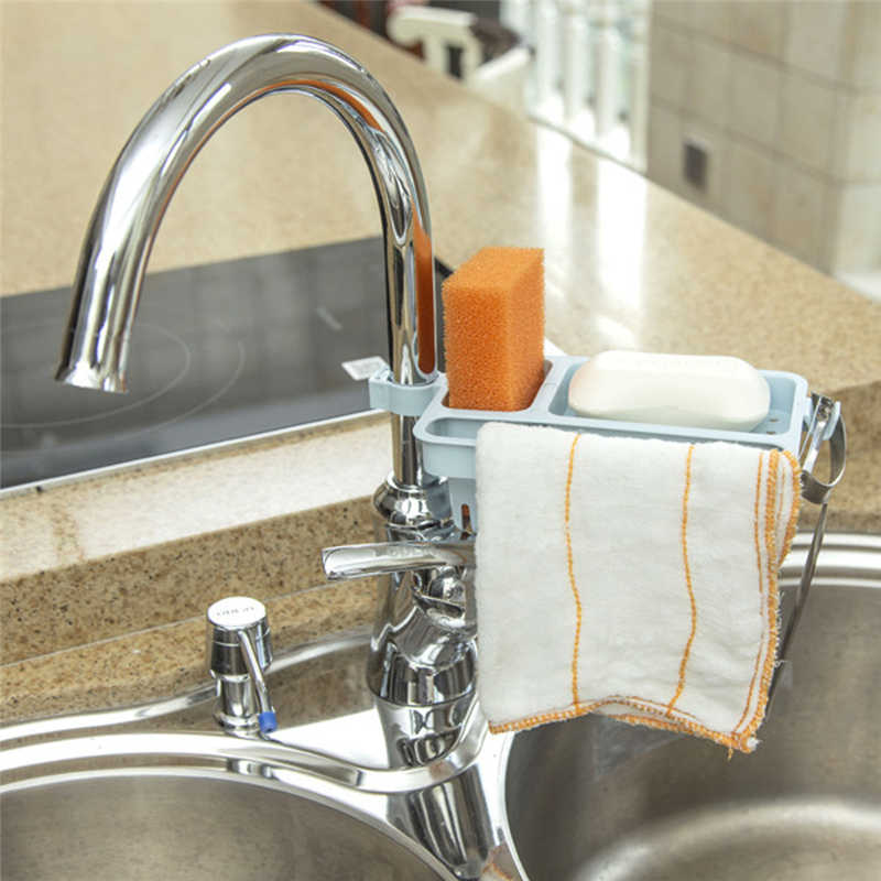 Image 4 - Kitchen Storage Rack Towel Soap Dish Holder Kitchen Bathroom Sink Dish Sponge Storage shelf Holder Rack Robe Hooks Sucker-in Racks & Holders from Home & Garden