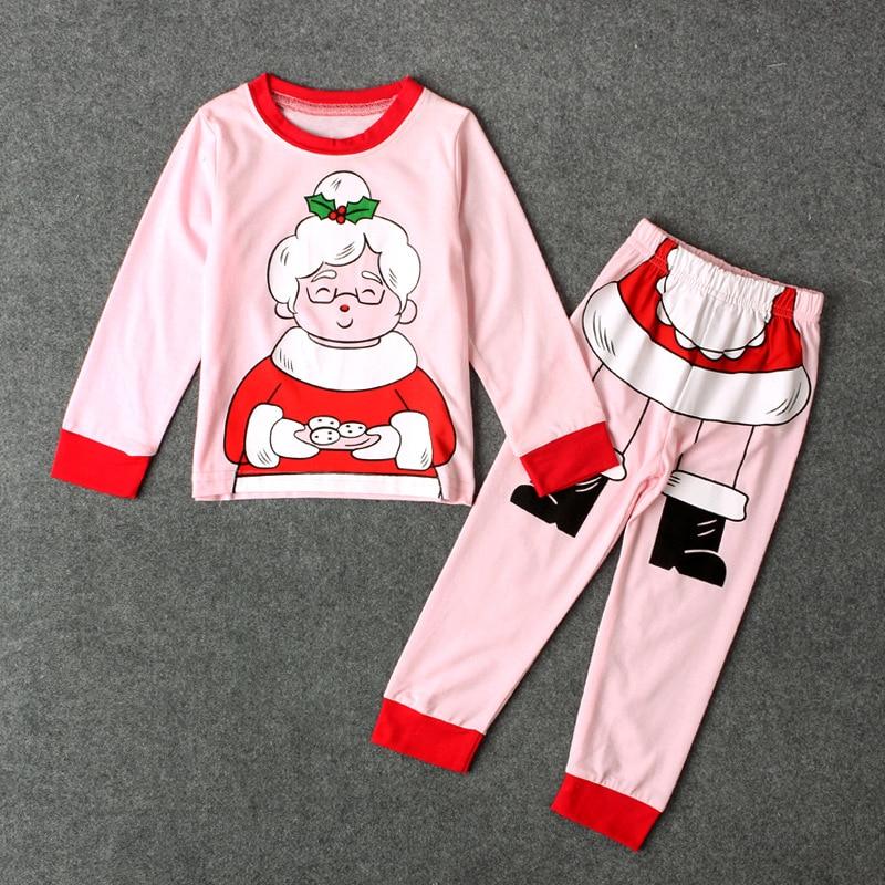 New Arrival Santa Claus Grandma Printing Pullover Tops+Long Pants Two Pieces Pajamas Pink Christmas Clothes Girls Clothing Set