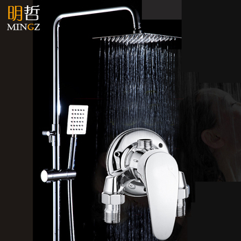 All-copper Ming-mounted shower faucet bathroom bathroom hot and cold faucet shower mixing valve bathtub faucet shower set