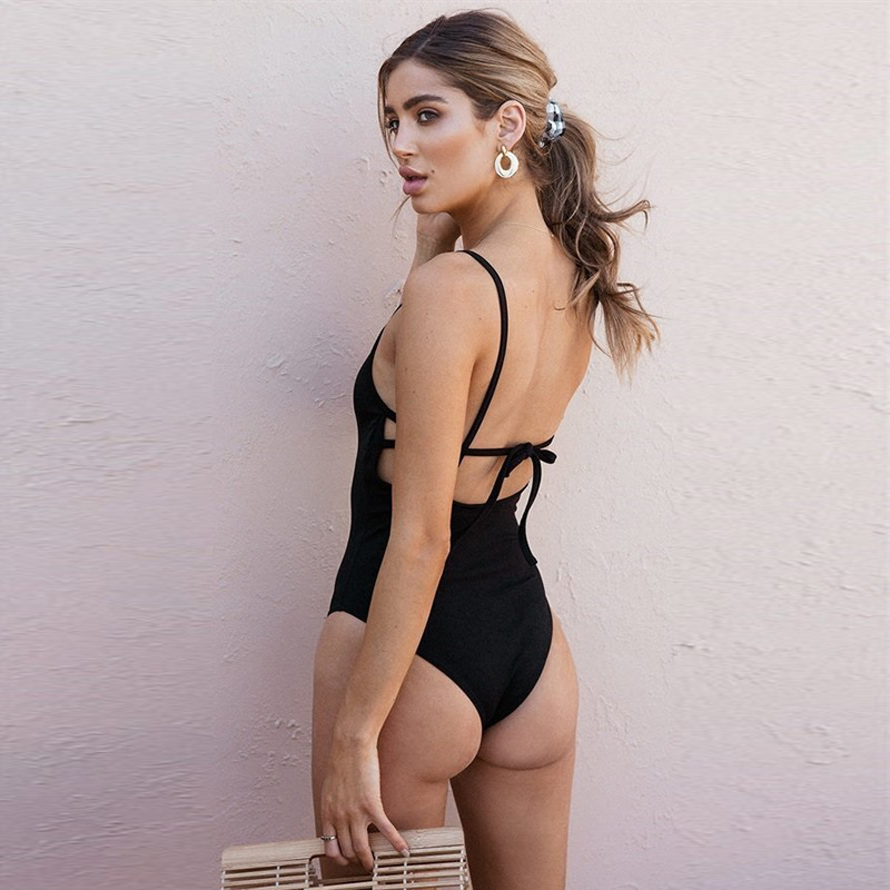 <font><b>2018</b></font> <font><b>Women</b></font> <font><b>Sexy</b></font> <font><b>Swimsuit</b></font> High Waist Bikini One Pieces Swimwear Bandage Bathing Push Up Swimming Suit Jumpsuit Vest Beach Bather image