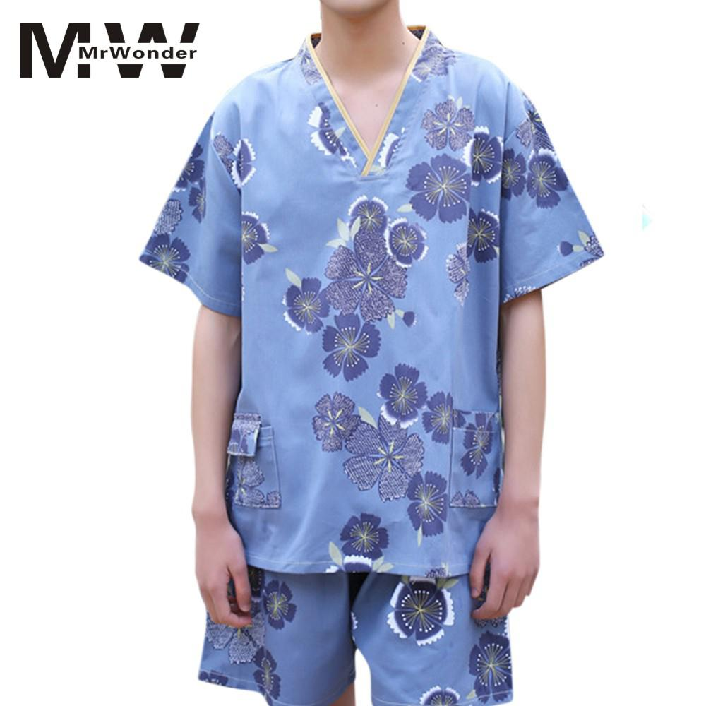 mrwonder Men Pajama Set for Couples Cotton Sleepwear Short Japan Style Sauna Sweat Suit Lovers Cute Floral PrintingSuit SAN0