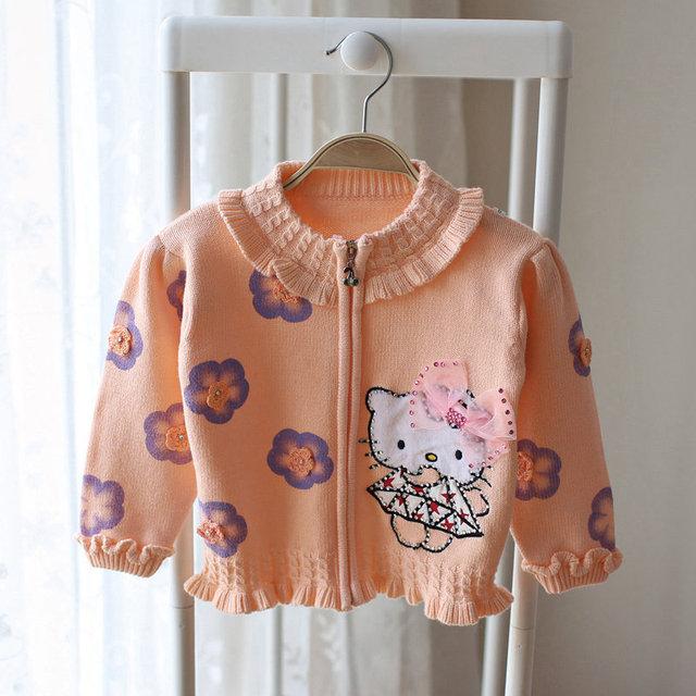 80-110 cm niñas toddle ropa 2016 Nueva 3D lindo arco de dibujos animados gatito cremallera suéter de punto cardigan de algodón trajes para el bebé