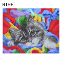 RIHE Cute Cat Diy Painting By Numbers Animal Oil On Canvas Hand Painted Cuadros Decoracion Acrylic Paint Home Decor