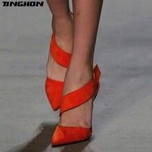 Купить с кэшбэком TINGHON Fashion Summer Shoes Women Gladiator High Heels Pumps Cutout Classic Dress Pumps Chaussures Femme Black Orange red