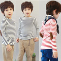 Spring Fall Size90~140 cotton child tops tees kids clothes children t-shirts for boys long sleeve t shirts stripes blue red