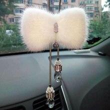 Крутой автомобиль алмазов зеркало заднего вида висит украшения luxury Кристалл bling Мех орнамент женщин девочек автомобильные аксессуары