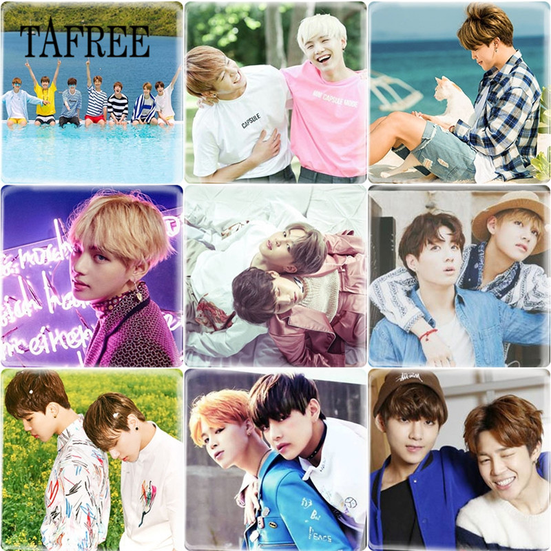 Intellective Tafree Bts Love Yourself Hip-hop Bangtan Boys Jimin Photo 25mm Square Shape Glass Cabochon Cameo Settings Diy Fans Gift Jewelry & Accessories