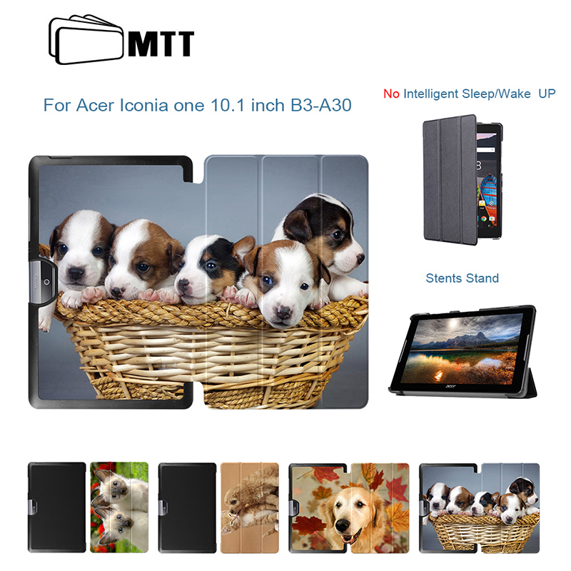 MTT Case For Acer Iconia Tab One 10 A3-A40 B3-A30 10.1 Tablet PC PU Leather Funda Stand Protective Case Cover Printed Dog Sleeve top quality magnetic stand flip pu leather cover for acer iconia one 8 b1 850 b1 850 8 tablet funda case free screen film pen