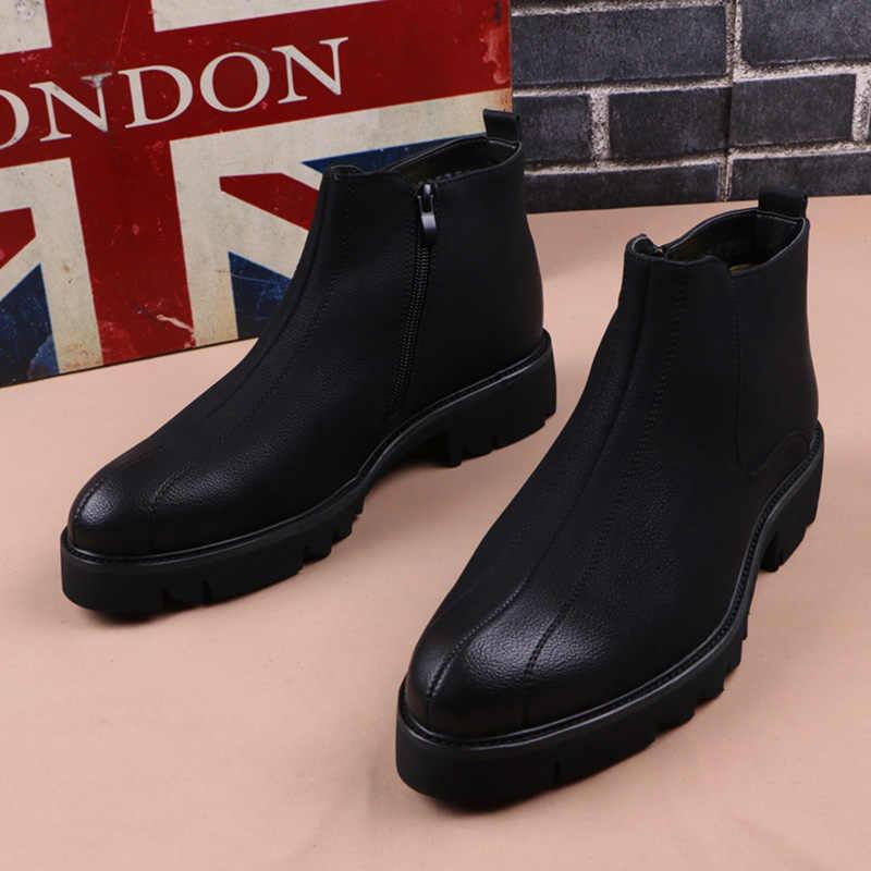 Merk Mannen botas Chelsea Laarzen Laarsjes Mode Mannen Mannelijke Merk Lederen Kwaliteit Slip Ons Motorfiets Man Warme laarzen mannen schoenen