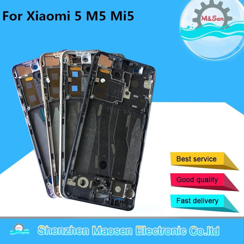 M&Sen For Xiaomi Mi 5 Mi5 M5 With Power Flex Cable Front Bezel Frame Middle Frame Housing For Xiaomi Mi 5 Mi5 M5 Middle Frame