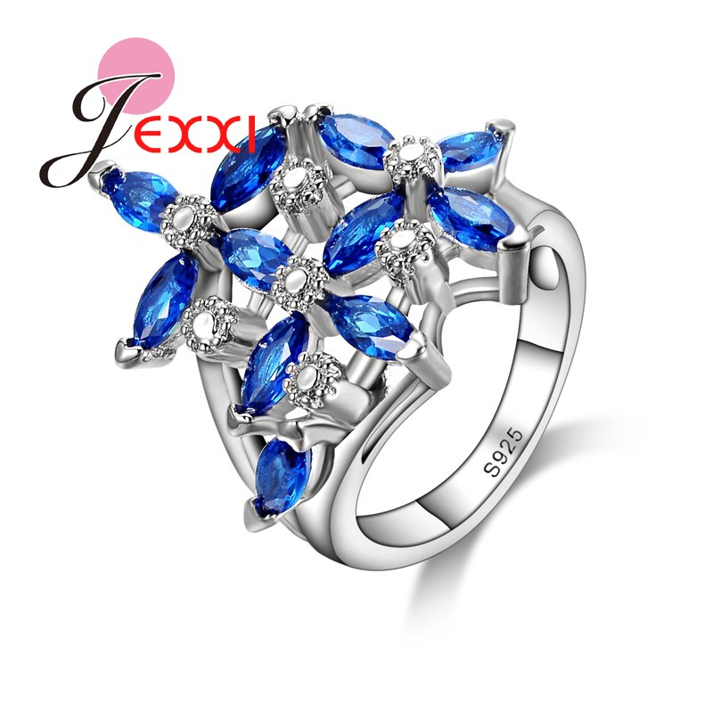 JEXXI High Quality AAA Cubic Zirconia Fashion Party Fingure Ring Luxury 925 Silver Sapphire Leaves Design Jewelry Rings Gifts