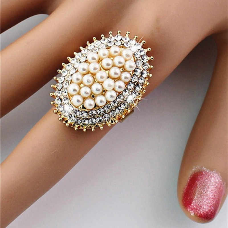 ZN 2019 Elegant Imitation Pearl Rings For Women Wedding Party Jewelry Gift Adjustable Size Women Engagement Ring