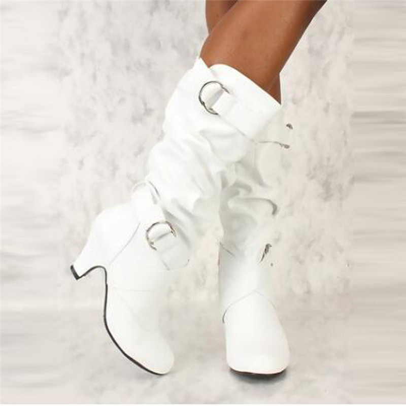 Autumn Winter 2018 Woman Boots Women Shoes Ladies Mid-Calf Boots Women High Heel Zipper Buckle Casual Shoes Snow Boots #40B 2018 winter girls fancy mini floral party wear clothing for children sleeveless lace princess wedding dress prom dress for teens