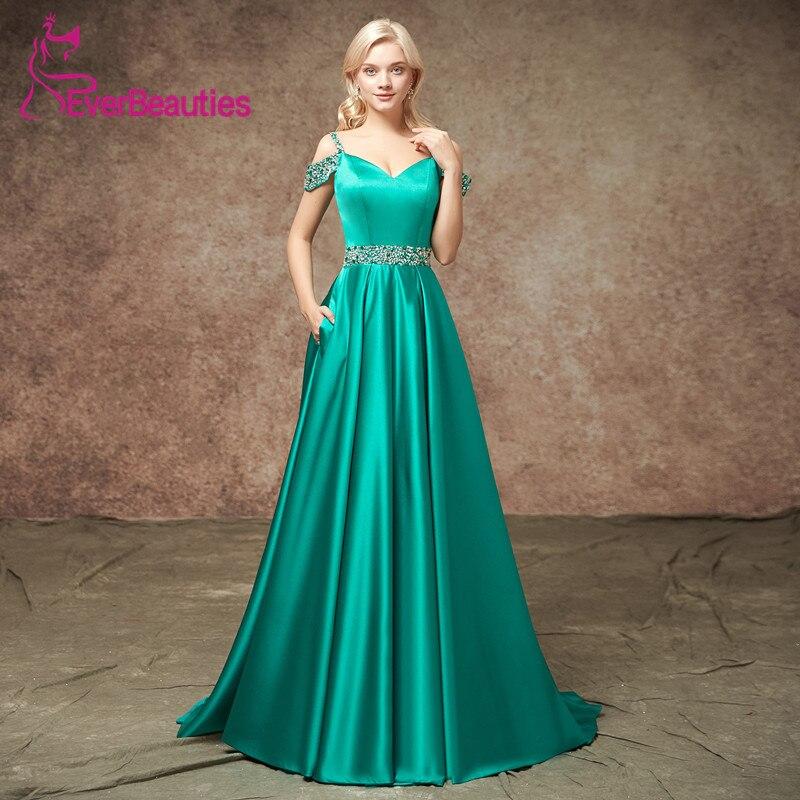Fashion New 2019 V Neck Long   Evening     Dresses   with Pockets Robe De Soiree Vintage Straps Prom   Dress   Party Elegant Vestidos Longos