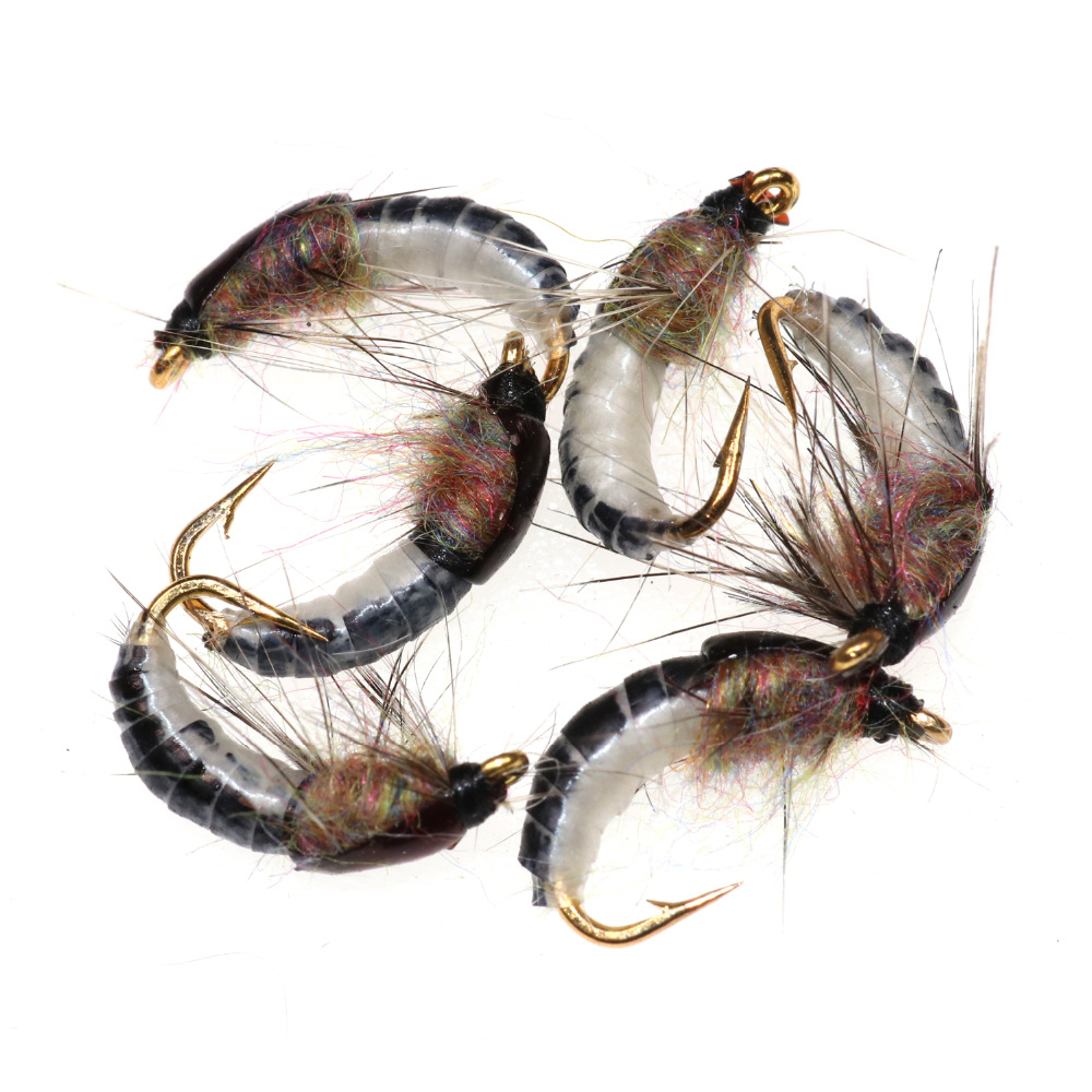 Bimoo 6PCS #12 Realistic Nymph Scud Fly for Trout Fishing Nymphing Artificial Insect Bait Lure 10