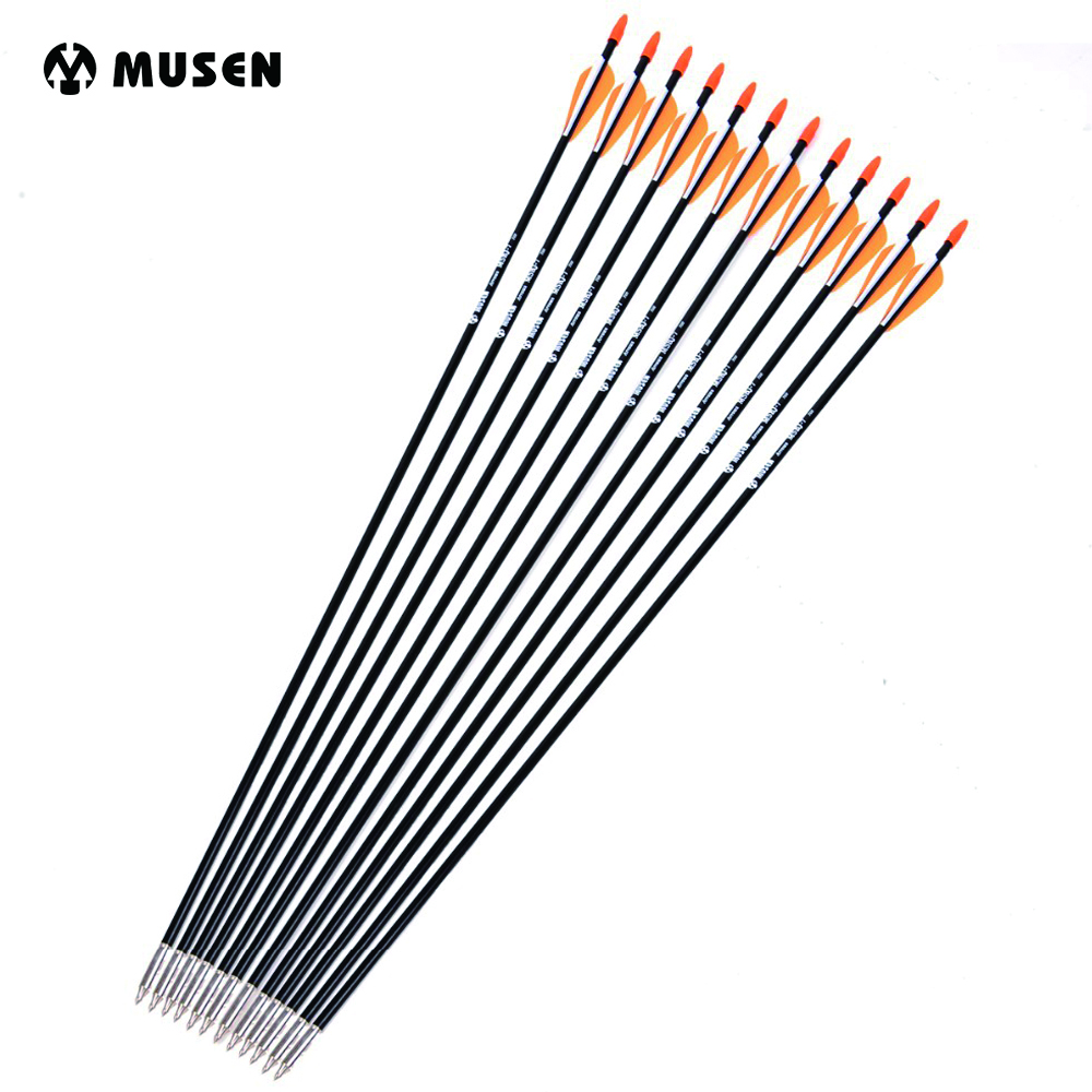 6/12/24pcs 31.5 Inches Spine 700 Fiberglass Arrow with Orange White Feather for Recurve Long Bow Practice Hunting Archery