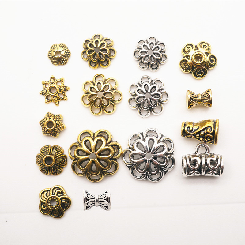 30Pcs Zinc Alloy Tibetan Bead Caps Fit 6-10mm Spacer Beads Bali Style Beads For Jewelry