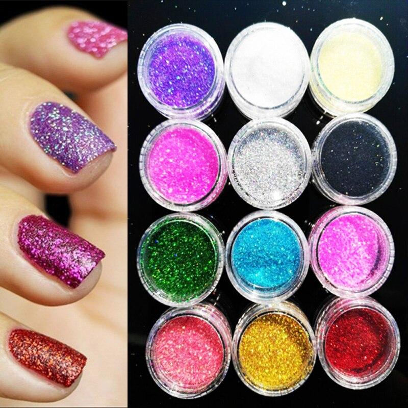 [12Colors] 12jars/lot Assorted Color Nail Art Fine Glitter