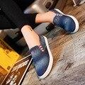 2016 весной джинсовые холст обувь квартир школьников туфли на платформе туфли-ленивых свободного покроя бездельник старинные обувь NX42