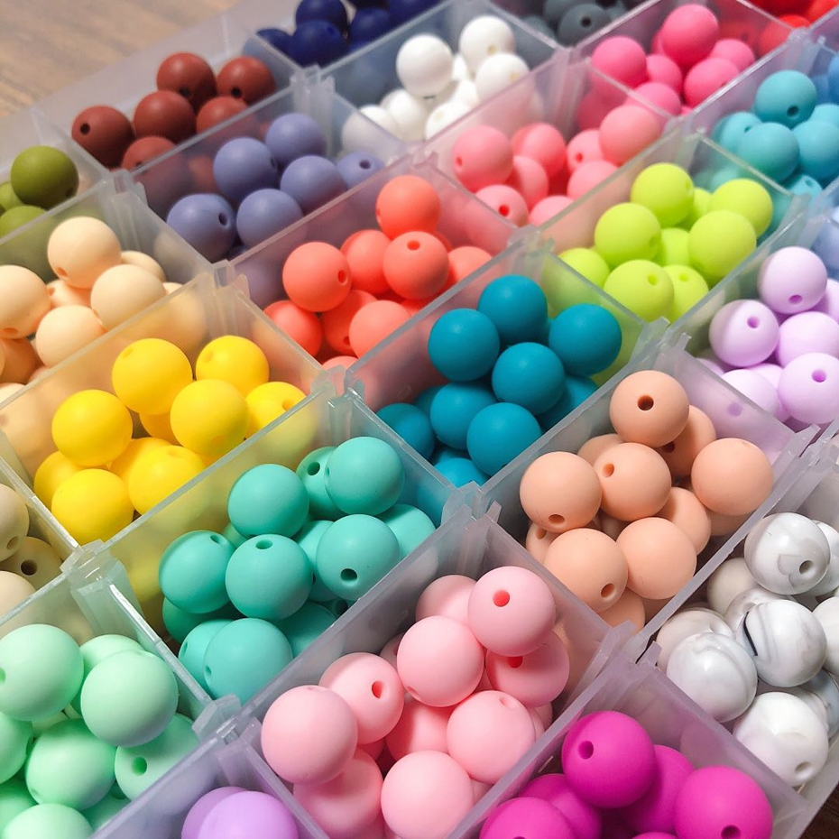 Let's Make 30pcs Silicone Beads 12mm Food Grade Silicone Teething Necklace DIY Jewelry Nursing For Teeth BPA Free Baby Teethers