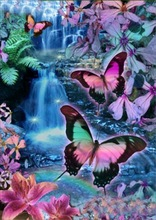 New Diamond Cross Stitch Painting Colorful Butterfly Stick 5D Diy Half Thorn Flower