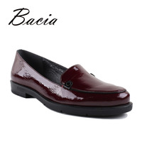 Bacia Genuine Leather Shoes Round Head Women Flats Red Brown Full Grain Leather Soft Casual Woman