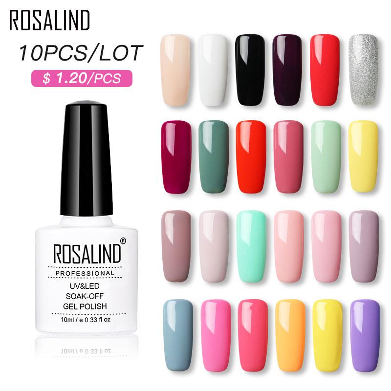 (Choose 10) ROSALIND 10ML Gel Nail Polish Set Classic Color Soak Off UV Nail Art Manicure Primer Nails Gel Polish Varnish Kit