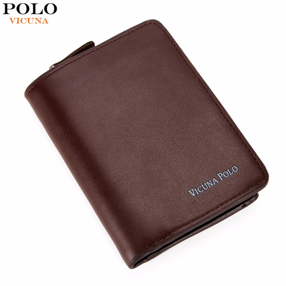VICUNA POLO Casual Casual Genuine Leather Wallet For Man With Zipper Coin Purse Business Credit Card Wallet carteira couro New bovis 5102 02 casual man s pu credit name card wallet slots coffee
