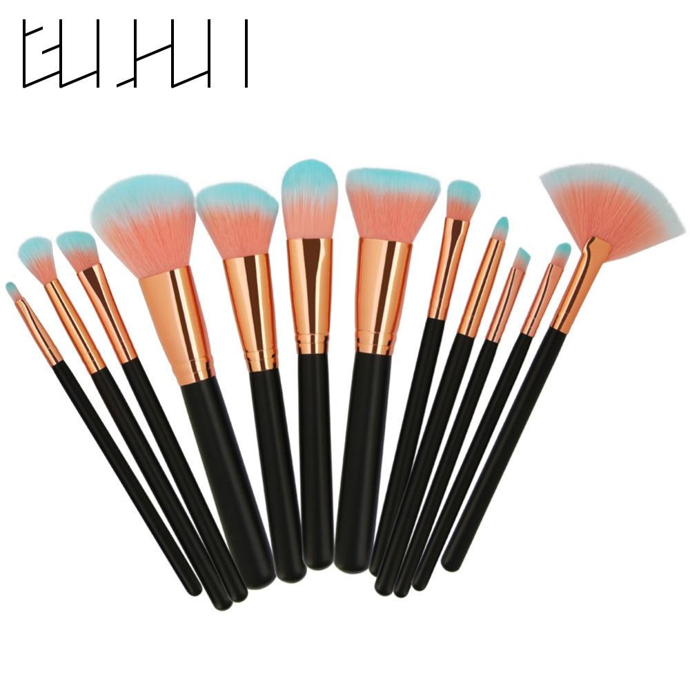 12pcs Makeup Brushes Tool Set Power Foundation Blending Contoor Blush Eyeliner Eyeshadow Cosmetic Beauty Brushes Kit Maquillage makeup brushes set tool 18 15pcs brushes
