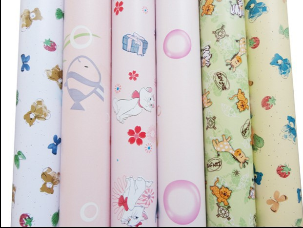 3 roll New home decor kids baby Child real wallpaper cartoon wallstickers dollarfish bear kitten animal bubble sticker