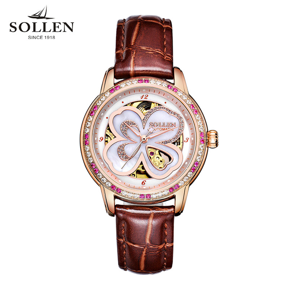 SOLLEN Clock Women Skeleton Automatic Mechanical Watch New Arrival Design Women Fashion Casual Leather Watches Relogio Femininos sollen clock women skeleton automatic mechanical watch new arrival design women fashion casual leather watches relogio femininos