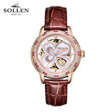 SOLLEN Clock Women Skeleton Automatic Mechanical Watch New Arrival Design Women Fashion Casual Leather Watches Relogio Femininos