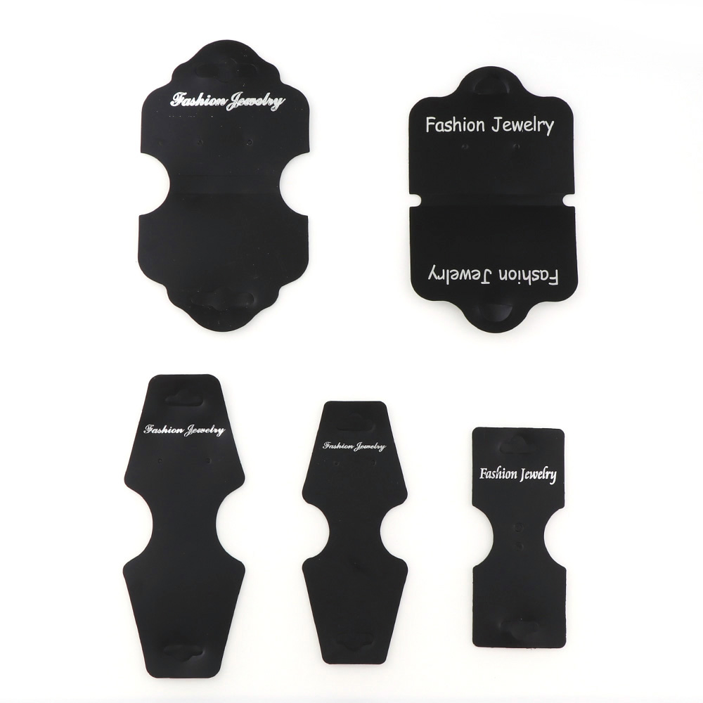 Fashion Black PVC Paper Ear Studs Necklace Card Hang Tag Jewelry Display Earring Favor Marking Garment Prices Label Tags Card