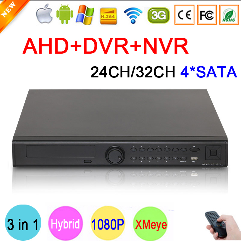 HI3531A XMeye 32CH,24CH 4 SATA 1080P/1080N/960P/720P/960H 3 in 1 Hybrid NVR AHD DVR Surveillance Video Recorder Free Shipping