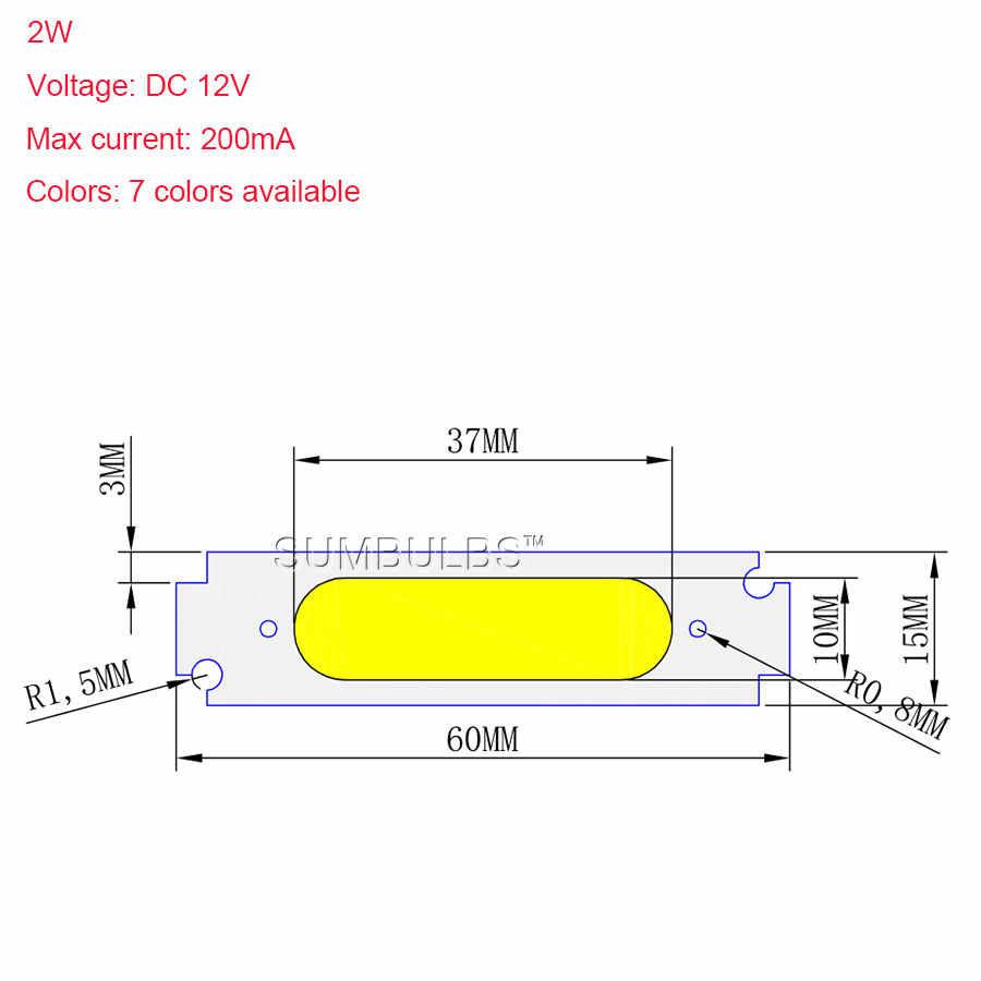 10PCS 60x15MM DC 12V 2W COB LED Glühbirne Chip Weiß Gelb Orange Grün blau Rot Lila LED Matrix Lampe für DIY Beleuchtung 6CM
