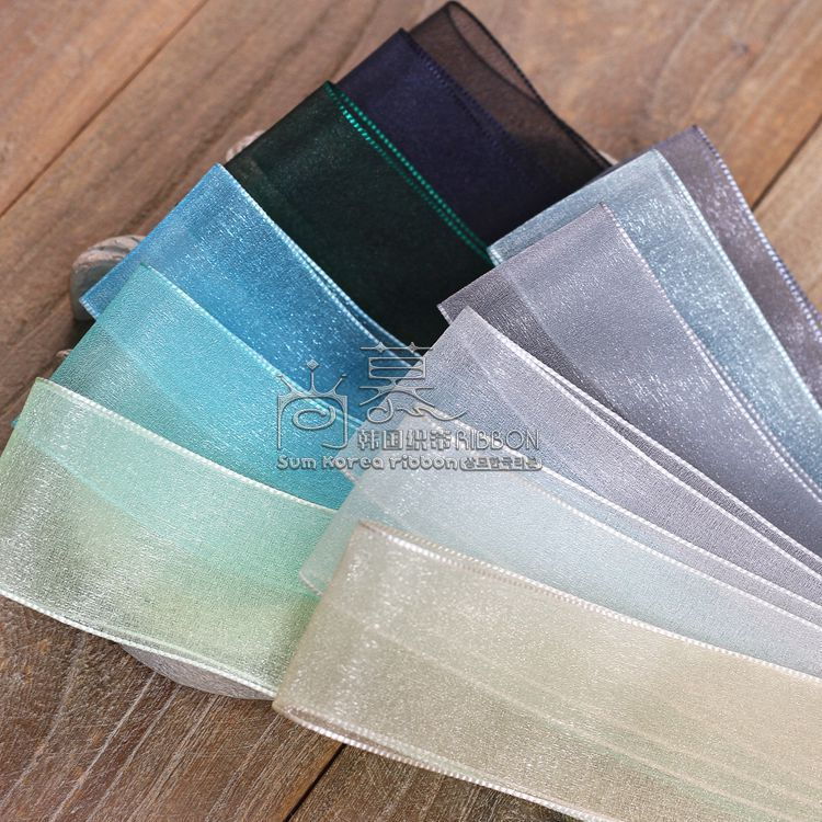 100yards 7 16 25 38mm organza sheer ribbon korean ribbon for gift packing garment accessories hair bow accessories in Ribbons from Home Garden
