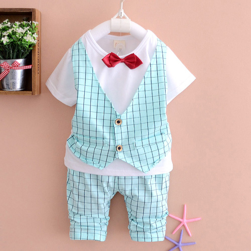 2016 Summer new baby clothing set 1 2 3 years old fashion boys cotton suits with tie A218