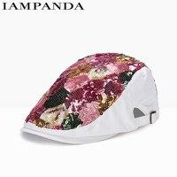 IAMPANDA Brand 2017 Beret High Quality Berets Handmade Sequined Berets Flat Cap Summer Hat Beret Women