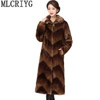 MLCIYG Autumn Winter Mink Fur Coat Jacket Women 2018 Fluffy Warm Long Overcoat Plus Size M 5XL chaqueta invierno mujer LX300