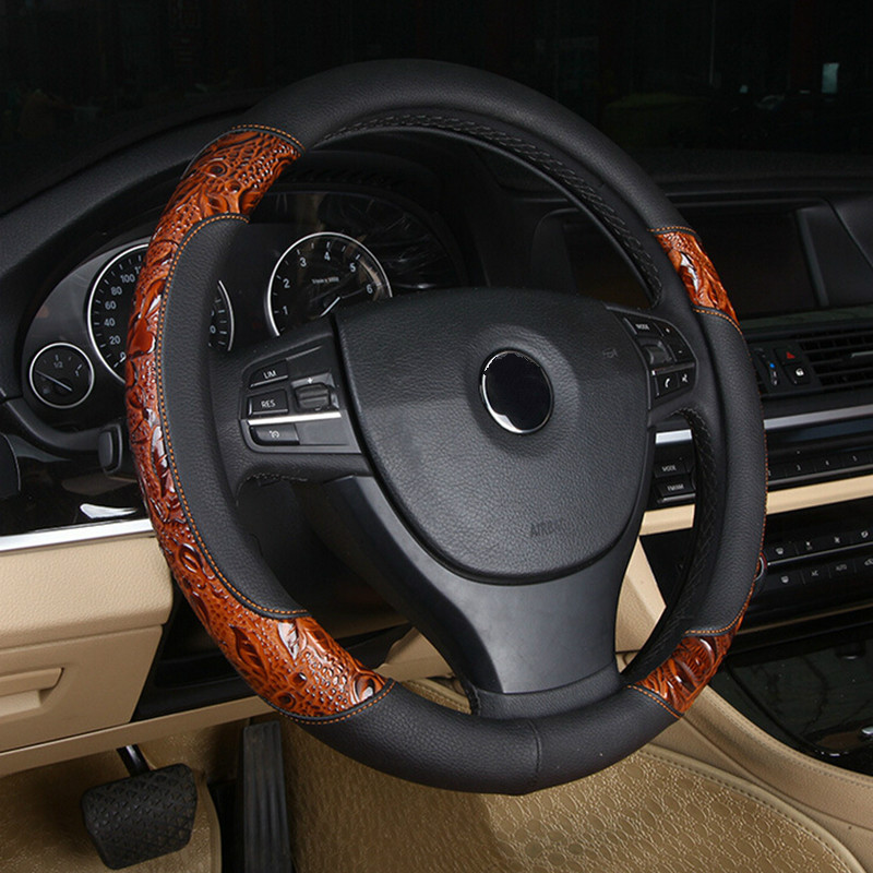 LUNASBORE Racing Wood shavings Car Steering Wheel Cover set Leather Covers 36/38/40cm For BMW/Honda/AUDI/Ford/Toyota/volkswagen
