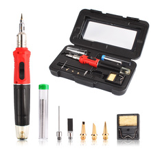 Self-Ignition 10-in-1 Gas Soldering Iron Cordless Welding Torch Kit Tool HS-1115K Top Quality Ignition Butane Gas Soldering Iron(China)