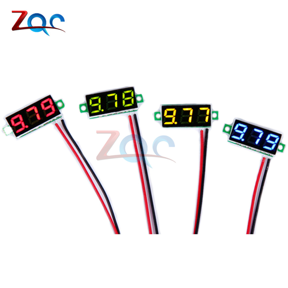 0.28 inch 0.28 DC 3.5-30V Super Mini Digital Red Green Blue Yellow LED Car Voltmeter Voltage Volt Panel Meter battery monitor gwunw by456v dc 0 30 00v 30v 4 bit digital voltmeter panel meter red blue green 0 56 inch voltage tester meter