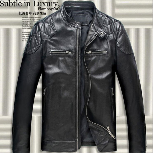 Genuine Fashion David Beckham Leather Men Jacket Black Stand Collar Slim Fit Genuine Sheepskin Men Motorcycle Jackets