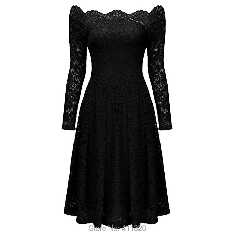 Robe Femme Sexy Vintage Floral Lace Dress Women Elegant Long Sleeve 50s 60s Retro Style Rockabilly Swing Wedding Party Dress (10)