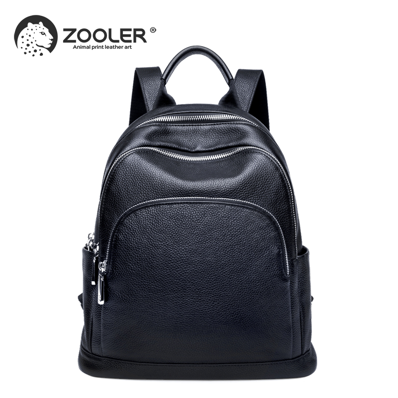 ZOOLER 100 Genuine Leather Fashion Women Backpack Preppy Style Girl s Schoolbag elegant Black Holiday travel