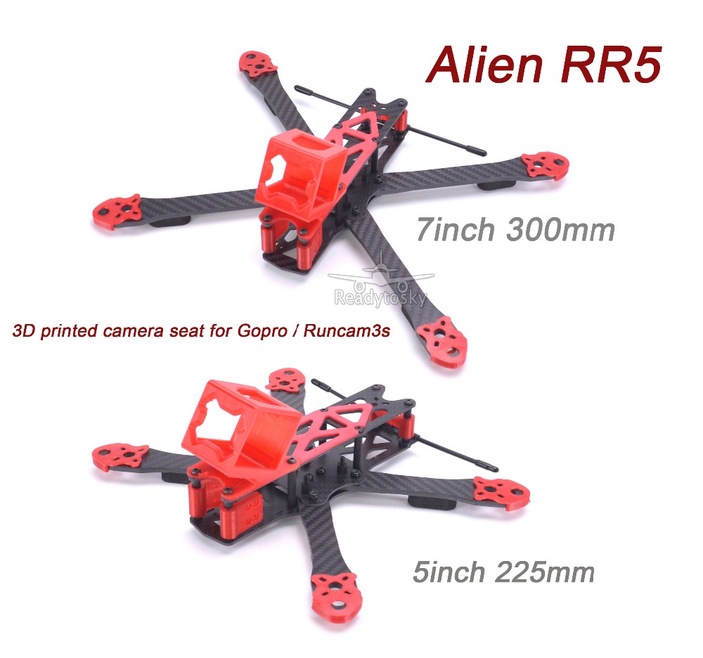 Alien RR5 X 5inch 225 225mm / 7inch 300 300mm Carbon fiber w/ 4mm Arm quadcopter frame kit with 3D printed TPU Parts for Gopro