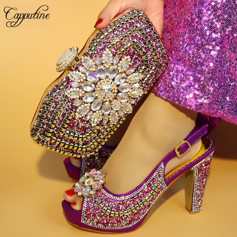 Capputine New Arrival Flowers Stone Crystal Shoes And Bag Set Fashion African High Heels Shoes And Bag Set For Wedding Dress цена
