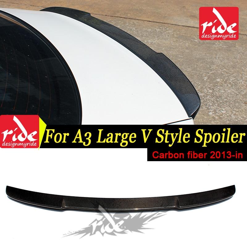 Fits For Audi A3 S3 Sedan V style Highkick True Carbon fiber Rear trunk spoiler Tail