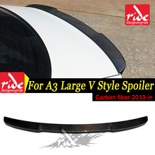 Fits For Audi A3 S3 Sedan V style Highkick True Carbon fiber Rear trunk spoiler Tail A3 S3 Rear Trunk Spoiler wing Lip 2013-2018 a3 rear trunk spoiler wing lip small aev style carbon fiber for a3 a3q auto air rear trunk spoiler tail wing car styling 2013 in