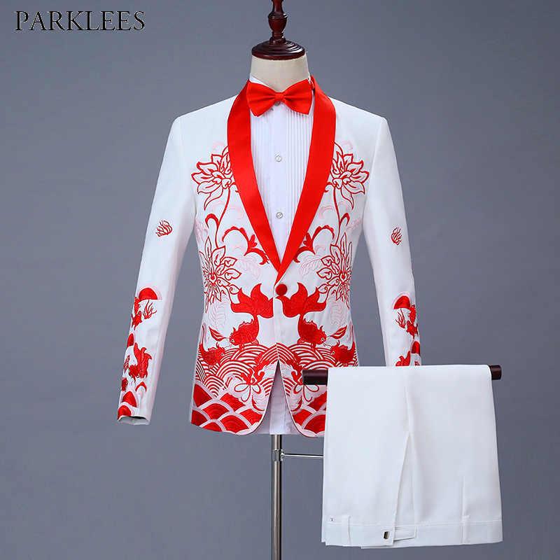 メンズ白赤刺繍スーツパーティー結婚式新郎のタキシードスーツショール襟スーツパンツとステージ歌手の服 XXXL